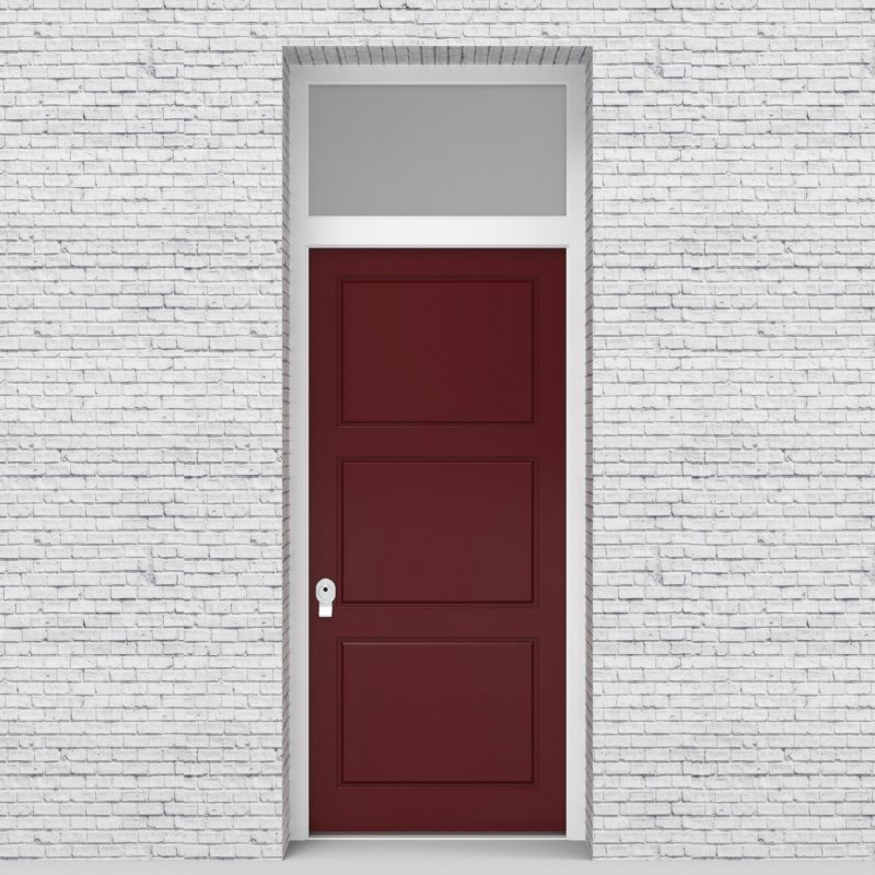 8.single Door With Transom Edwardian 3 Equal Panel Ruby Red (ral3003)
