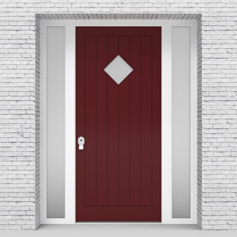 8.single Door With Two Side Panels 7 Vertical Lines With Diamond Pane Ruby Red (ral3003)