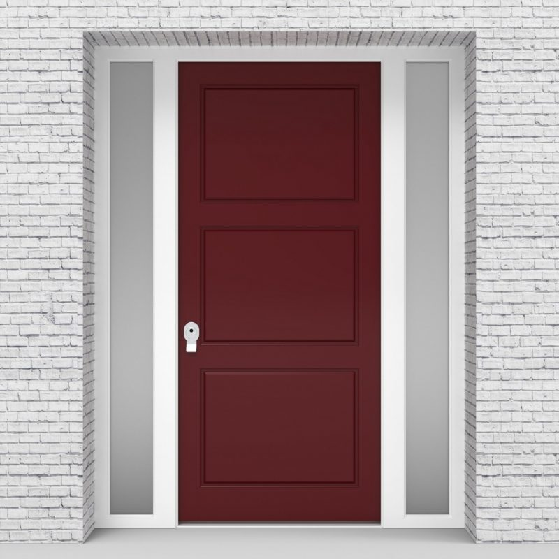 8.single Door With Two Side Panels Edwardian Ruby Red (ral3003)