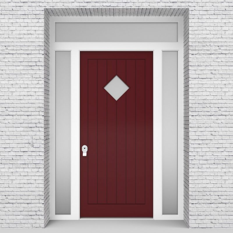 8.single Door With Two Side Panels And Transom 7 Vertical Lines With Diamond Pane Ruby Red (ral3003)