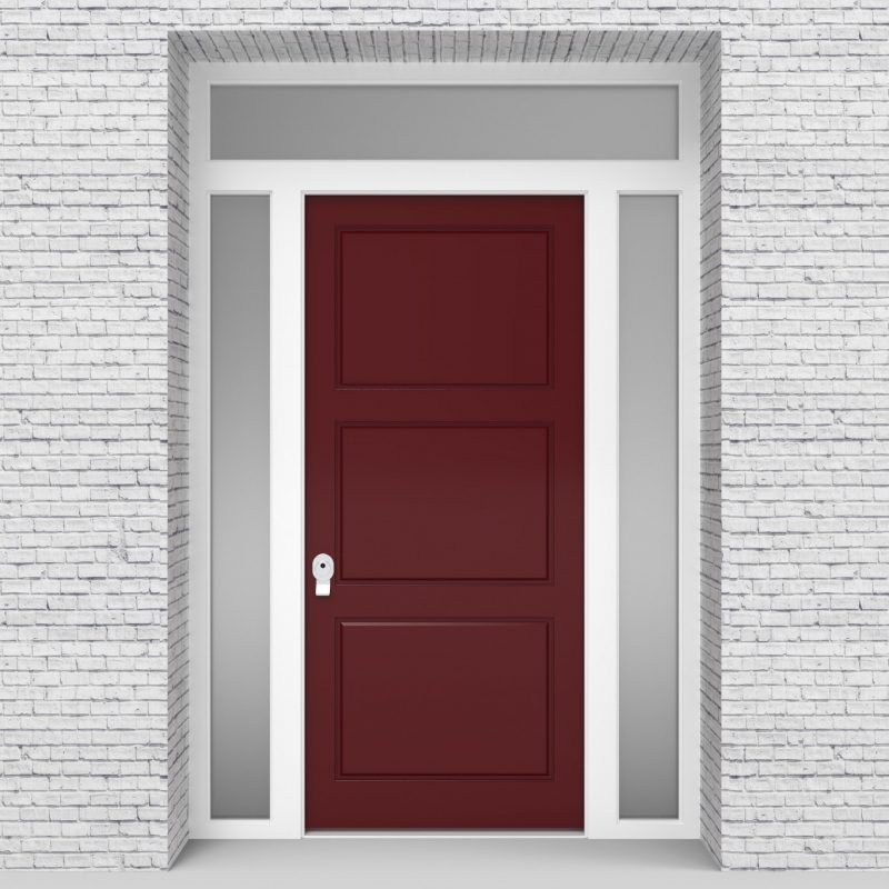8.single Door With Two Side Panels And Transom Ruby Red (ral3003)
