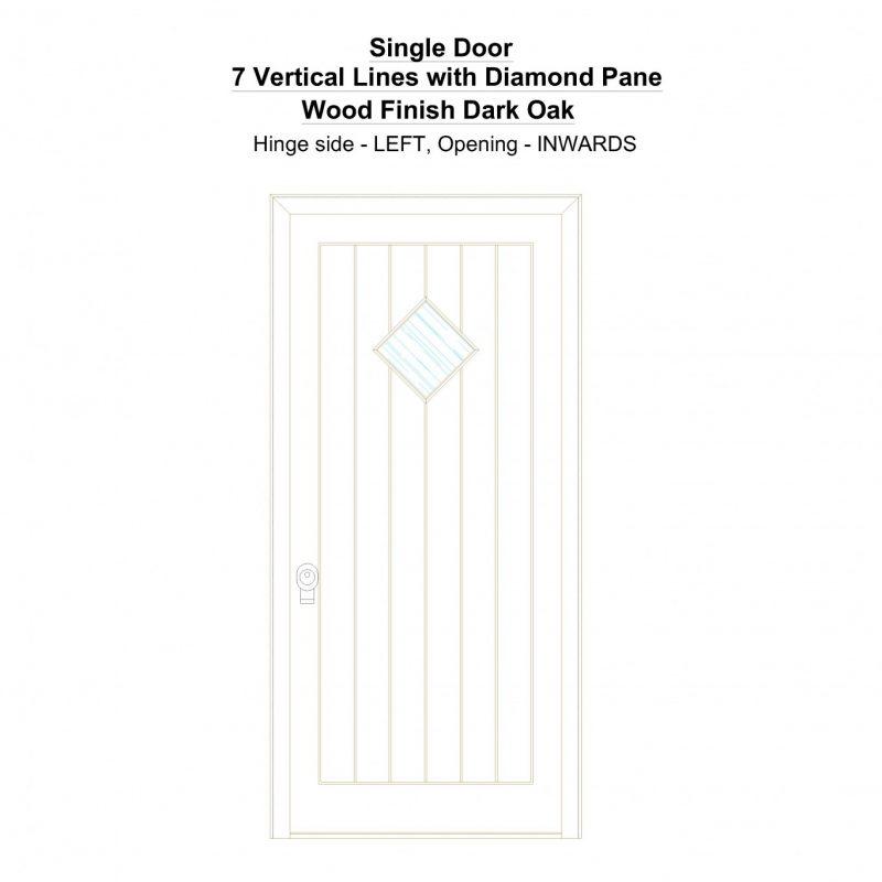 Sd 7 Vertical Lines With Diamond Pane Wood Finish Dark Oak Security Door