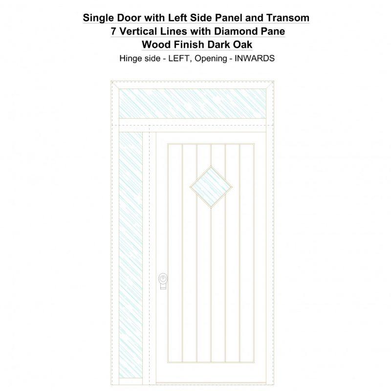 Sd1spt(left) 7 Vertical Lines With Diamond Pane Wood Finish Dark Oak Security Door