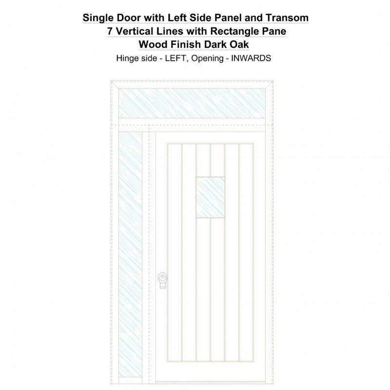 Sd1spt(left) 7 Vertical Lines With Rectangle Pane Wood Finish Dark Oak Security Door