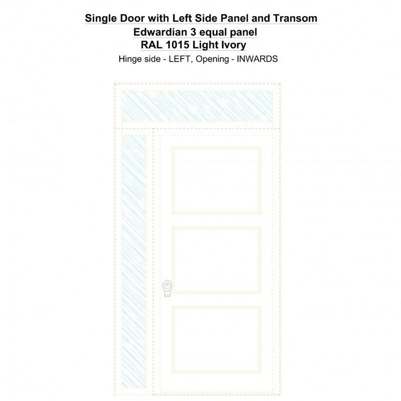 Sd1spt(left) Edwardian 3 Equal Panel Ral 1015 Light Ivory Security Door