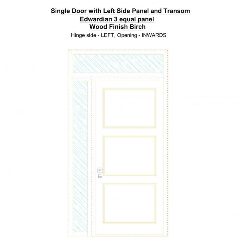 Sd1spt(left) Edwardian 3 Equal Panel Wood Finish Birch Security Door