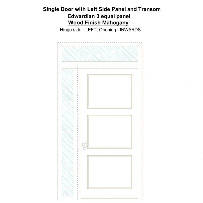Sd1spt(left) Edwardian 3 Equal Panel Wood Finish Mahogany Security Door