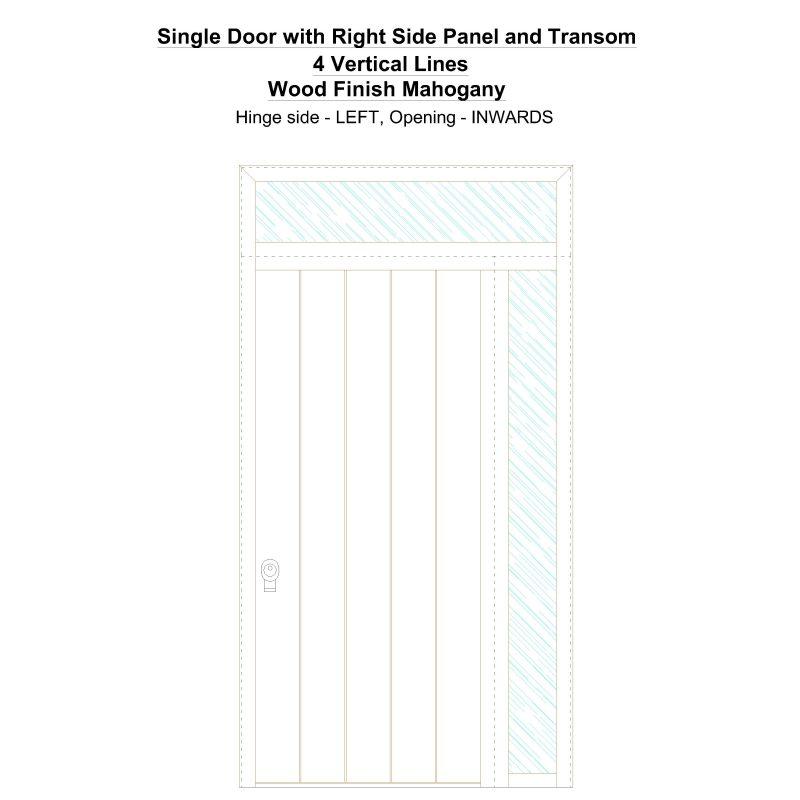 Sd1spt(right) 4 Vertical Lines Wood Finish Mahogany Security Door
