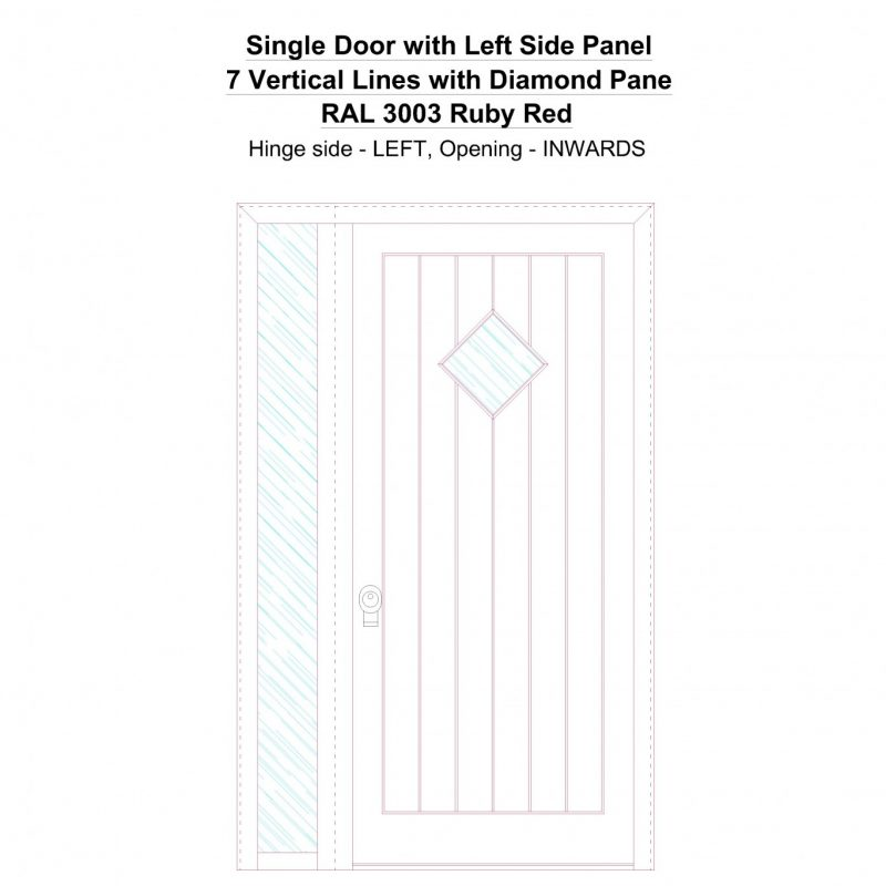 Sd1sp(left) 7 Vertical Lines With Diamond Pane Ral 3003 Ruby Red Security Door