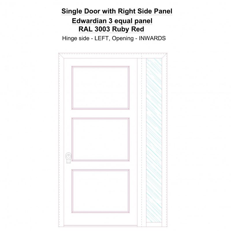 Sd1sp(right) Edwardian 3 Equal Panel Ral 3003 Ruby Red Security Door