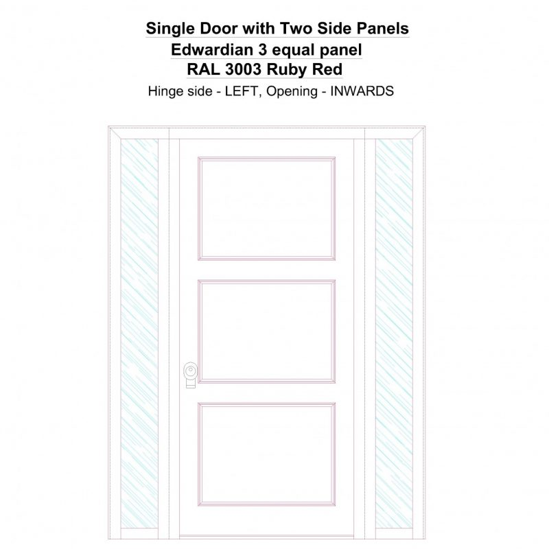 Sd2sp Edwardian 3 Equal Panel Ral 3003 Ruby Red Security Door