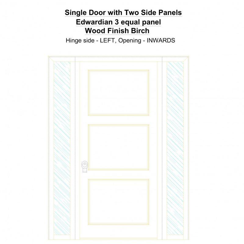 Sd2sp Edwardian 3 Equal Panel Wood Finish Birch Security Door