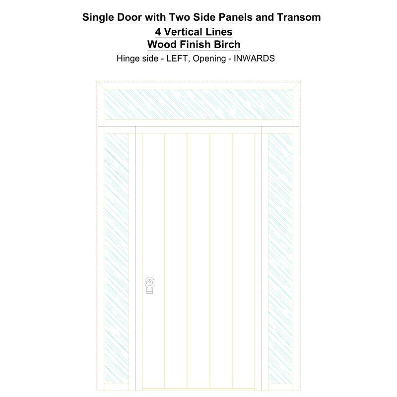 Sd2spt 4 Vertical Lines Wood Finish Birch Security Door
