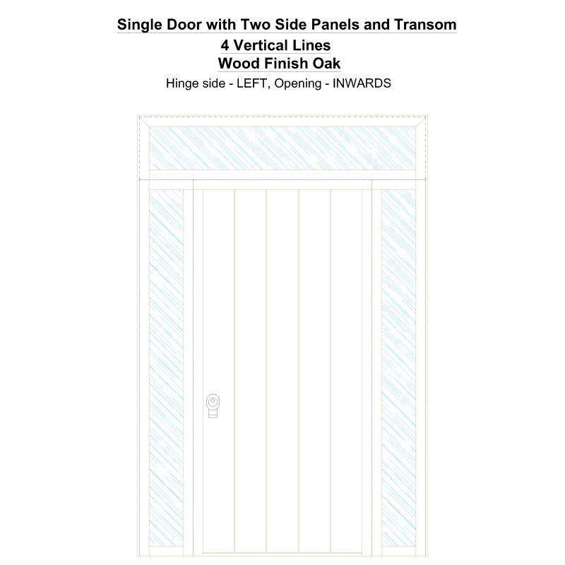 Sd2spt 4 Vertical Lines Wood Finish Oak Security Door