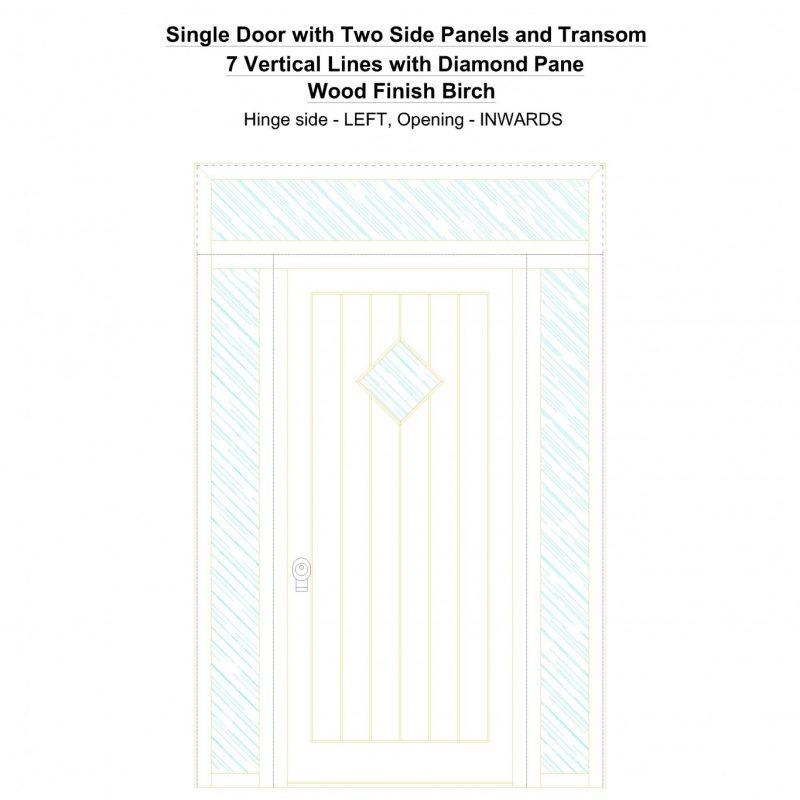 Sd2spt 7 Vertical Lines With Diamond Pane Wood Finish Birch Security Door