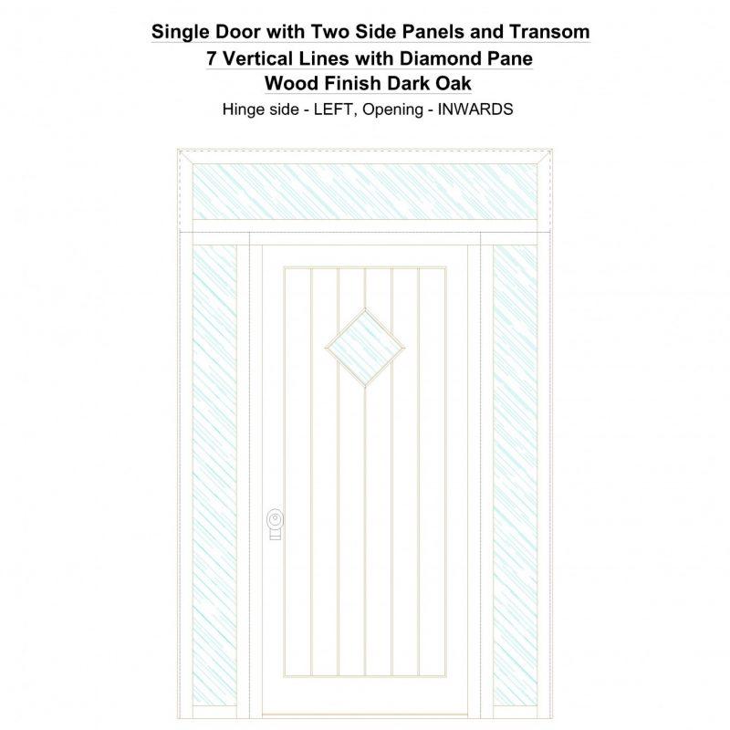Sd2spt 7 Vertical Lines With Diamond Pane Wood Finish Dark Oak Security Door