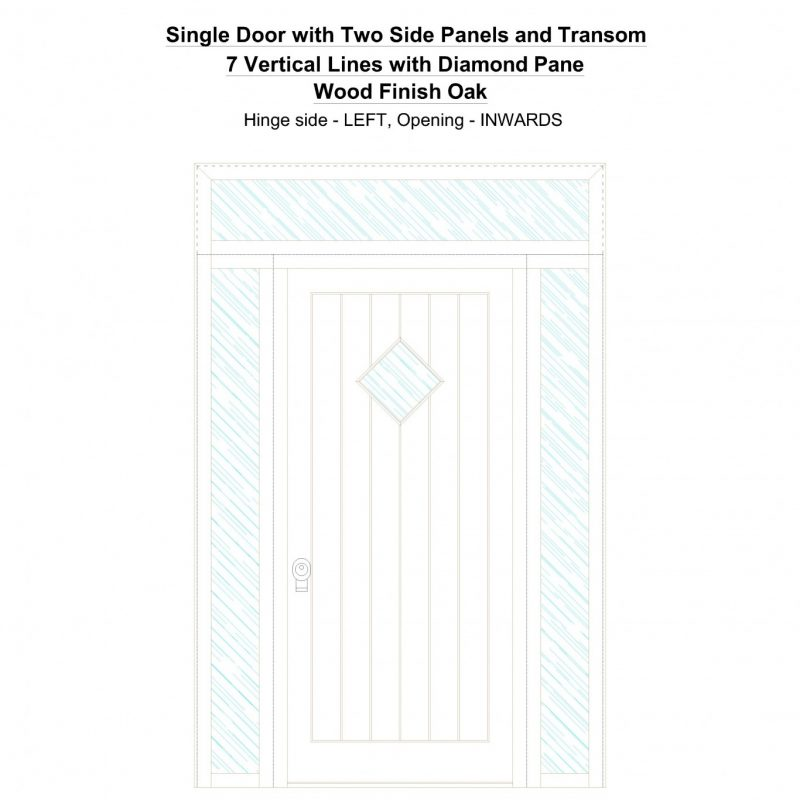 Sd2spt 7 Vertical Lines With Diamond Pane Wood Finish Oak Security Door