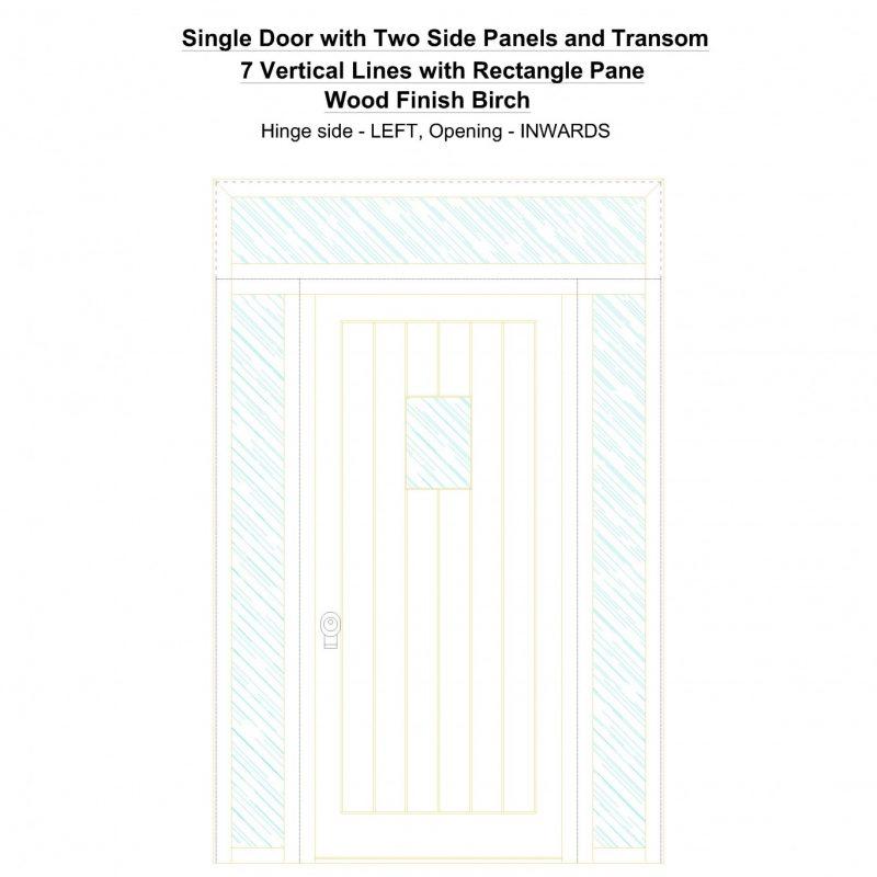 Sd2spt 7 Vertical Lines With Rectangle Pane Wood Finish Birch Security Door