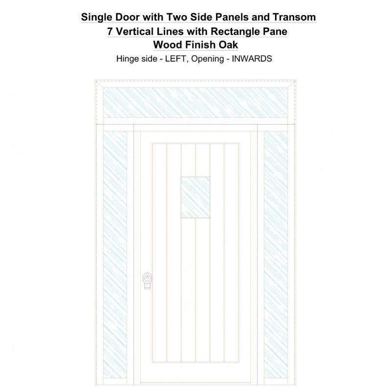 Sd2spt 7 Vertical Lines With Rectangle Pane Wood Finish Oak Security Door