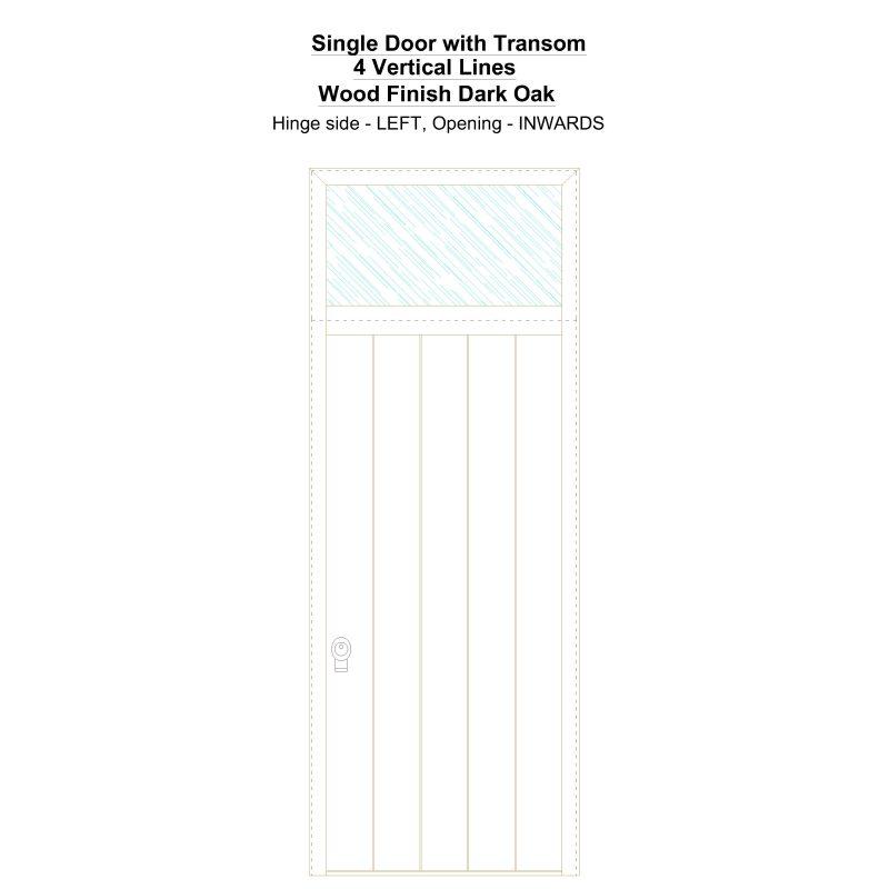Sdt 4 Vertical Lines Wood Finish Dark Oak Security Door