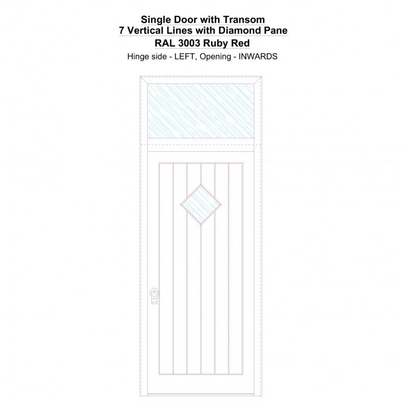 Sdt 7 Vertical Lines With Diamond Pane Ral 3003 Ruby Red Security Door