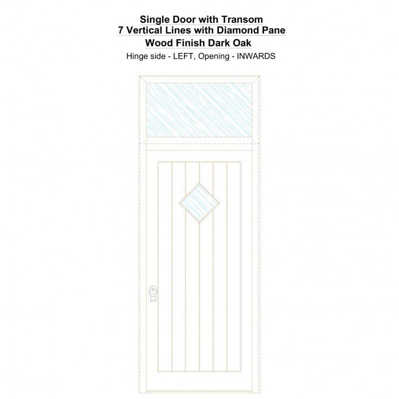 Sdt 7 Vertical Lines With Diamond Pane Wood Finish Dark Oak Security Door
