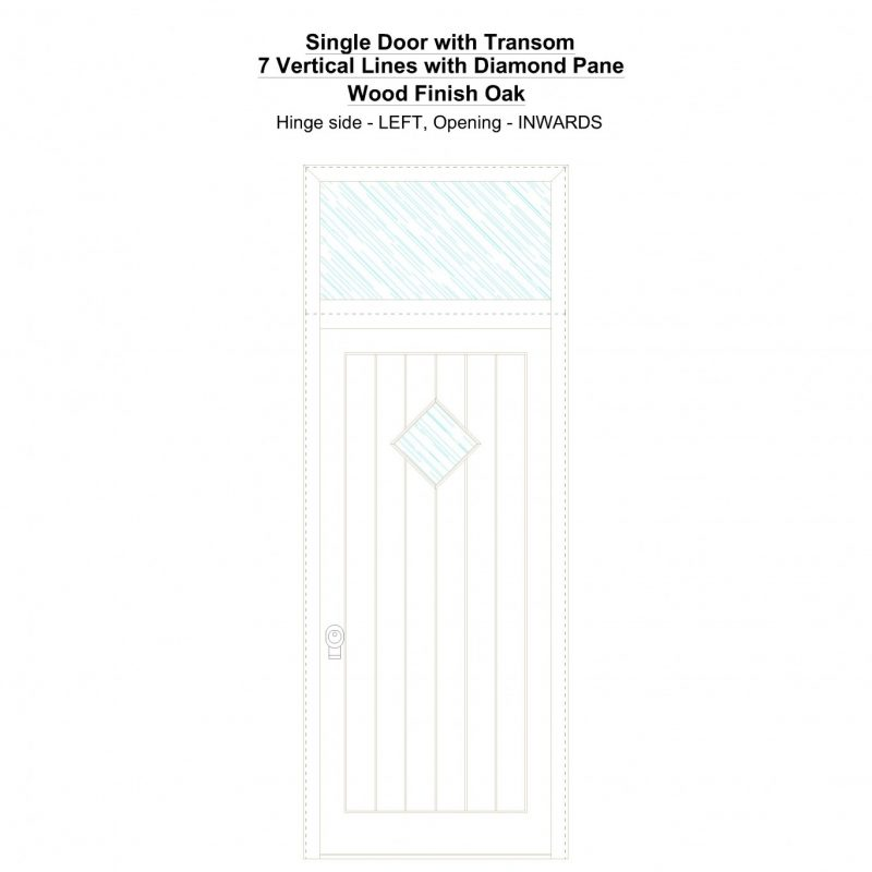 Sdt 7 Vertical Lines With Diamond Pane Wood Finish Oak Security Door