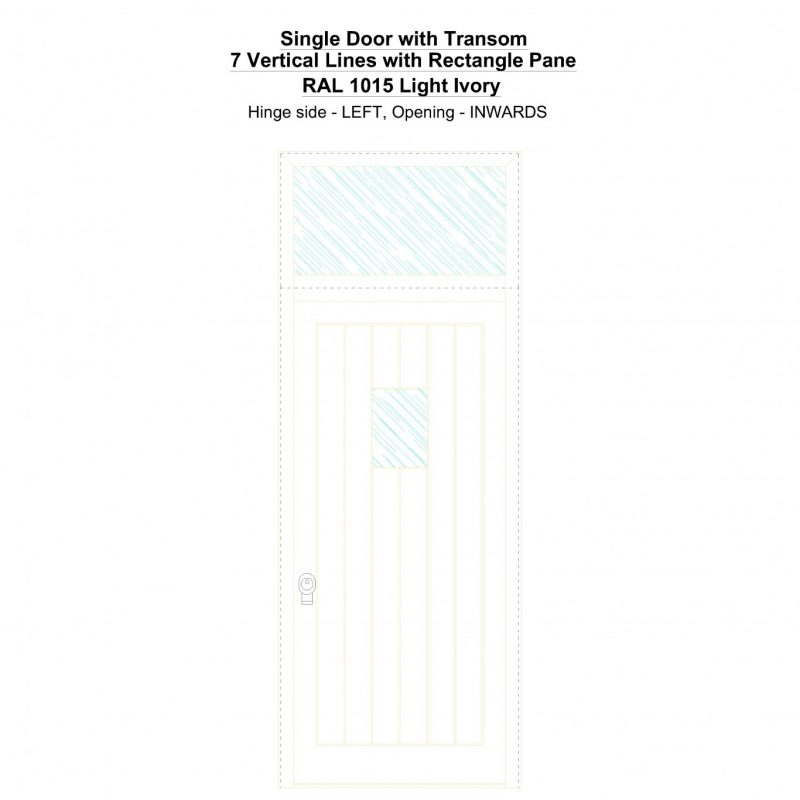 Sdt 7 Vertical Lines With Rectangle Pane Ral 1015 Light Ivory Security Door
